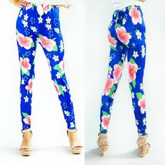 blue women's flower print legging stretchy tights pants fashion spring leggings