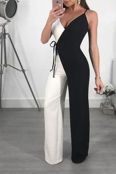 Black Spaghetti Strap Lace-Up V-neck High Waisted Work Suit Elegant Party Long Jumpsuit Long Jumpsuits, Jumpsuits For Women, Chica Cool, Black Spaghetti, Jumpsuit Outfit, Summer Jumpsuit, White Jumpsuit, Work Suits, Elegant Outfit