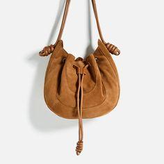 ZARA - WOMAN - SPLIT SUEDE BUCKET BAG WITH KNOTS
