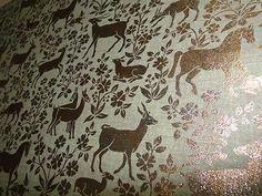 Vintage 70's Gold Metallic Mylar Wallpaper Horses Gazelles Animals Green | eBay