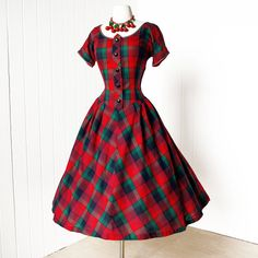 vintage 1950's dress ...best BETTY BARCLAY red tartan by traven7
