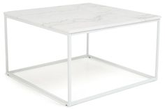 Sohvapöytä Titania Valkoinen marmori/Teräs - 75x75x45 cm | Kodin1.com