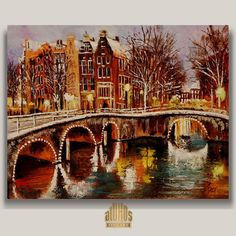 """Amsterdam Winter"" ... YARY DLUHOS Amsterdam Netherlands Canal City Original IMPRESSIONISM Oil Painting #Impressionism"