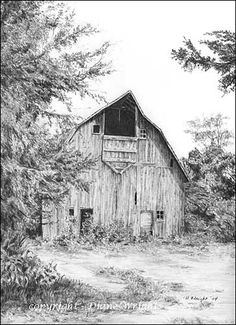 BARNS - Graphite Pencil Drawings by Diane Wright