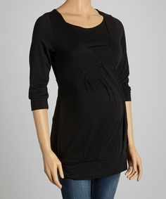 Look what I found on #zulily! Black Pleated Maternity & Nursing Top - Women by Mamaway #zulilyfinds