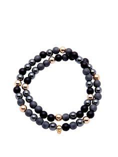 Men's 14K Gold Collection, Skull Bead, Matte Onyx, Matte Hematite | Nialaya Jewelry