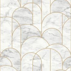 With a white marble inspired print and gold geometric pattern, this wallpaper embodies opulence. Its glam style is perfect for adding a sophisticated touch to rooms. Arch is an unpasted, non woven blend wallpaper. Color: Light Grey.