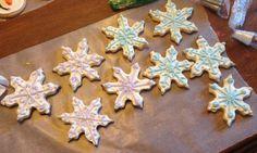 Xmas snowflake sugar cookies with royal icing