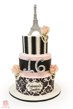 Sweet 16 Parisian Themed Cake #rose #eiffel #damask