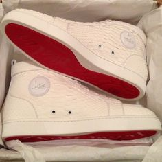 White python louboutin men's sneakers
