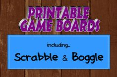 scrabble themed classroom | Printable Game Boards including Scrabble and Boggle. Just print ...