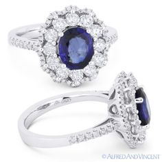 The featured ring is cast in 18k white gold and showcases an oval floral design set with an oval cut sapphire center gem surrounded by round cut diamond petals & round cut diamond pave-set accents all the way around the flower outline and on the ring's shoulders.