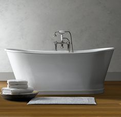 Piedmont Pedestal Soaking Tub and Tub Fill with Handheld Shower, a reproduction of a double-ended pedestal tub design promises a deep, relaxing soak Master Bath Remodel, Master Bathroom, Master Tub, Master Suite, Attic Bathroom, Big Bathtub, Traditional Bathtubs, Pedestal Tub, Landscaping