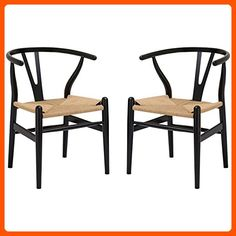 Poly and Bark Wegner Wishbone Style Chair, Black, Set of 2 - Improve your home (*Amazon Partner-Link)