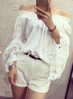 Lace Crochet Flower Splicing Stylish Off-The-Shoulder Lantern Sleeve Blouse For Women