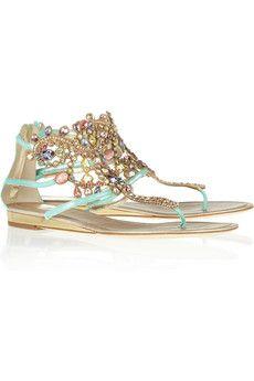 Swarovski crystal-embellished suede sandals