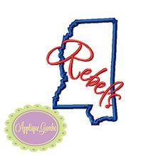 Mississippi Rebels Ole Miss Machine Embroidery Applique Design Embroidery Software, Machine Embroidery Applique, Embroidery Techniques, Embroidery Files, Embroidery Patterns, Ole Miss Rebels, School Spirit, Puzzle Pieces, Picture Design