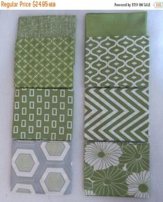 LABOR DAY SALE - Simply Style from Moda., Fat Quarter Bundle 8 Fat Quarters,Green Collection, Modern Prints, Geometric, Quilting,Fq105