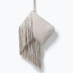 LEATHER CLUTCH WITH FRINGES from Zara