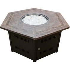 Hiland Hexagon Fire Pit with Faux Stone Top, Multicolor
