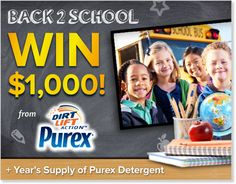 Beat the Back-To-School Blues by signing up to WIN $1,000 & a FREE year of detergent from Purex! Enter NOW until August 30th, daily! How would you spend $1,000?!