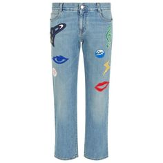 Stella McCartney Embroidered Patch Tomboy Jeans (9.709.020 IDR) ❤ liked on Polyvore featuring jeans, low rise jeans, stella mccartney jeans, stella mccartney, 5 pocket jeans and blue jeans