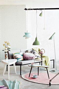 estilo nórdico con color en casa