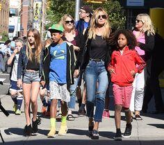 """52087653 """"America's Got Talent"""" judge Heidi Klum with all her children are seen out and about in New York, on June 9th 2016. The group held hands with each other while walking around the city. FameFlynet, Inc - Beverly Hills, CA, USA - +1 (310) 505-9876"""