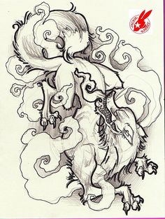japanese fox demon tattoo design by jackie rabbit Japanese Demon Tattoo, Fox Tattoo Design, Fuchs Tattoo, Japanese Fox, Rabbit Tattoos, O Tattoo, Tattoo Flash, Style Japonais, Asian Tattoos
