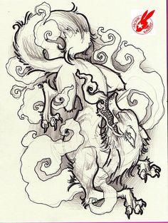 Japanese Fox Demon Tattoo Design By Jackie Rabbit Flickr Photo Design 21301 482x640 Pixel