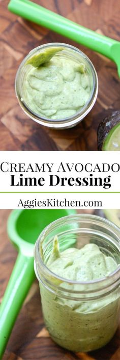 Creamy Avocado Lime Dressing can be served with a salad or as a dip for vegetables. It's bright & full of healthy ingredients like avocado & Greek yogurt.