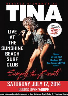 Rebecca O'Connor as Tina Turner at the Surf Club  It's not all about sun, surf and sand on holiday at Noosa. The Sunshine Beach Surf Clubfeatures artists on a regular basis. An upcoming event that promises to engage Tina Turner fans is happening on July 12. For more details and photo credit http://sunshinebeachslsc.com.au  Posted by: www.beachhousenoosa.com and www.balinesebeachhousenoosa.com  #whatsonnoosa #sunshinebeachsurfclub #tinaturner #entertainentnoosa