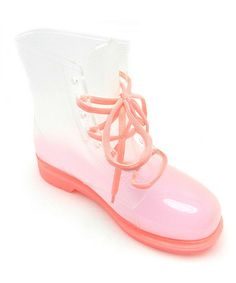 Another great find on #zulily! Pink Transparent Rain Boot #zulilyfinds