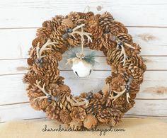 Rustic DIY Antler Pine Cone Wreath