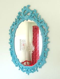 Vintage Upcycled Turquoise Blue Syroco Mirror