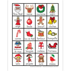 PDF File Language: French Color Page Size: X 11 in. 1 page A page containing 20 Christmas words illustrated (in french). Christmas Bingo, Christmas Activities, Christmas Crafts, French Christmas, Frozen Christmas, Bingo Sheets, Happy New Year Message, French For Beginners, French Kids