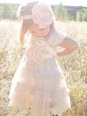 "This Is Our ""Country Couture"" Flower Girl Dress. So Rustic And Chic The Name Suits The Style!     Although are dresses are designed as Flower Girl Dresses, they can be used for so many other events and everyday occasions!  This Dress Has Tiers Of Beautiful Champagne Lace Ruffles Along Lace French Trim. Cap Sleeves Add The Perfect Touch Of Elegance. This Dress Is The Perfect Mix Of Vintage, Rustic And Chic! Includes Headband & Sash Pictured Does Not Include Tiny Ribbon Bow On Models Ches..."