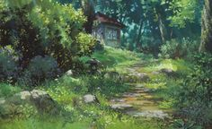 Kazuo Oga, the extremely talented art director for Studio Ghibli. He painted much of the backgrounds for the animated Studio Ghibli movies Studio Ghibli Background, Animation Background, Art Background, Anime Yugioh, Anime Pokemon, Anime Plus, Anime W, Secret World Of Arrietty, The Secret World