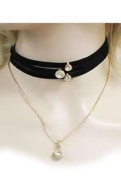 Chic Couture Online - Velvet and Chain Choker Necklace Combo with Crystals.(http://www.chiccoutureonline.com/velvet-and-chain-choker-necklace-combo-with-crystals/)