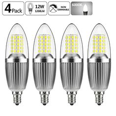 GEZEE LED Candelabra Bulb, Non-Dimmable 100-Watt Light Bulbs Equivalent, 12W LED Candle Bulbs,Daylight White 6000K Chandelier Bulbs, E12 Candelabra Base, 120V, 1200Lumens, Torpedo Shape(4 Pack) #GEZEE #Candelabra #Bulb, #Dimmable #Watt #Light #Bulbs #Equivalent, #Candle #Bulbs,Daylight #White #Chandelier #Bulbs, #Base, #Lumens, #Torpedo #Shape( #Pack)