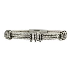 14K White Gold Italian Cable Bangle Bracelet with Pave Diamond Spacers, c. 1980s. $2200