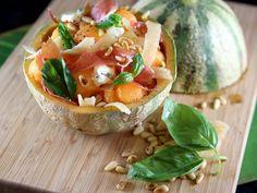 melon, parmesan, gorgonzola, jambon, pignon, basilic frais, huile d'olive, citron