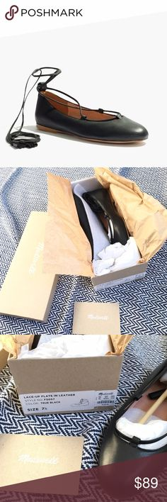 NIB Madewell Inga lace-up flats Madewell Inga lace up flat in true black. SOLD OUT ONLINE IN SIZE 7.5. Brand new! Fit true to size. Make an offer! 🚫NO TRADES🚫PRODUCT DETAILS Made of rich leather, these round-toe skimmers have tassel-tipped laces that can be looped around the ankle or crisscrossed up the leg (hello, options). Flats too cute to swap out for heels.  Photo credit : Madewell Leather upper and lining. Man-made sole. Item F5057. Madewell Shoes Flats & Loafers