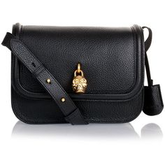 Alexander McQueen Black Leather Padlock Satchel ($1,095) ❤ liked on Polyvore featuring bags, handbags, purses, bolsas, accessories, handbags & purses, black leather handbags, skull purse, hand bags and man bag