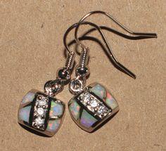 white fire opal Cz earrings Gemstone silver jewelry cocktail drop dangle style B #DropDangle