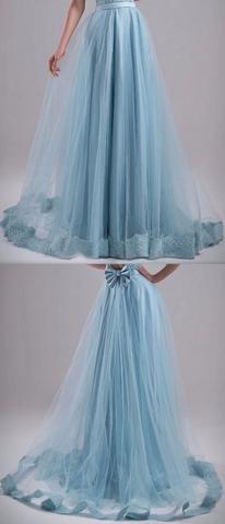 Sequin-Hem Tulle Maxi Skirt with Bow, Sky Blue