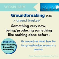 Groundbreaking - meaning with example sentence
