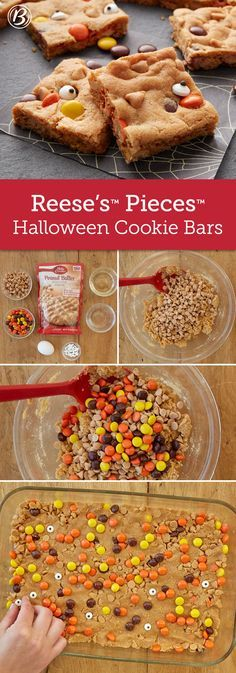halloween cookies Delight your little ghost and goblins with this easy peanut butter cookie bar, made with our peanut butter cookie mix, peanut butter chips, Reeses Pieces candies and super-fun candy eyeballs! Köstliche Desserts, Holiday Desserts, Holiday Baking, Holiday Treats, Delicious Desserts, Yummy Treats, Sweet Treats, Yummy Food, Healthy Food