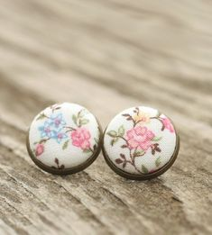 Stud Earrings  Cherry Blossoms Studs  Pink by PatchworkMillJewelry