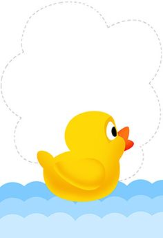 """""""duck new baby"""" printable invitation. Customize, add text and photos. print for free!"""